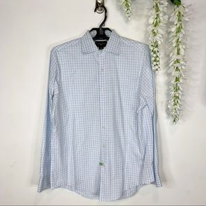 BLACK BROWN 1826 button down shirt blue check 1563